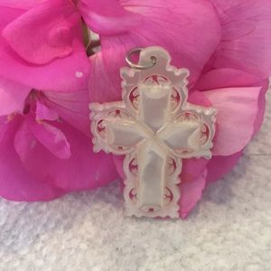 Vint. '50s Carved Mother-of-Pearl Cross Bethlehem